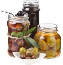 Olives in glass bottle